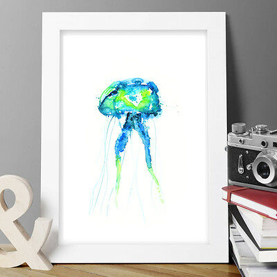Jelly Fish Print Original Watercolour New Signed Pop Art Abstract Wall Frame