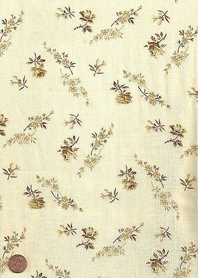 Antique 1870 Brown & Tan Small Print Rose Fabric