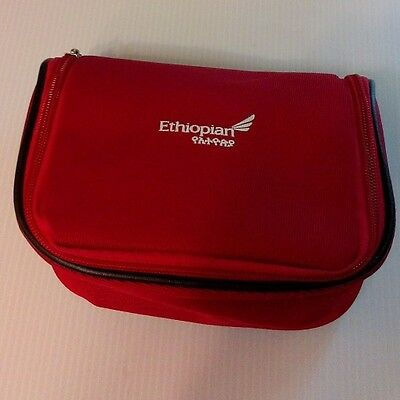 Red Ethiopian Airlines Business First Travel Amenity Kit Overnight Bag Case