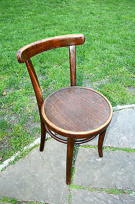 Compact Antique French Cafe Thonet Solid Beech Wood Desk Chair Embossed Seat