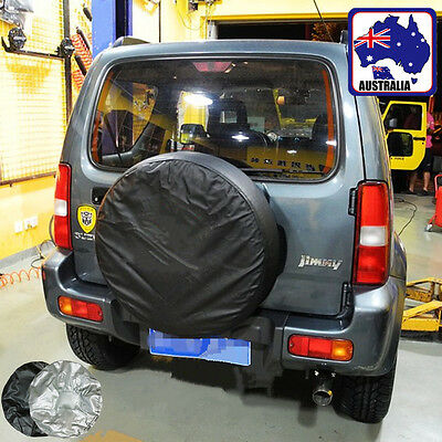 """Spare Tire Cover Wheel Tyre Back Up Covers 14"""" 15"""" 16"""" 17"""" Silver Black VTYC011"""