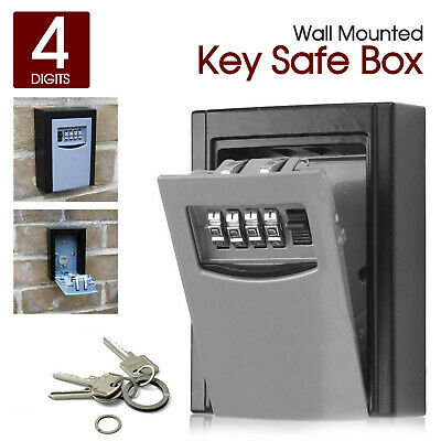 Weather Resistant 4 Digit Wall Mounted Outdoor Key Safe Box Lock Locker Storage