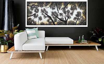 LARGE original Aboriginal Art oil Painting  landscape tree forest dreaming 180cm