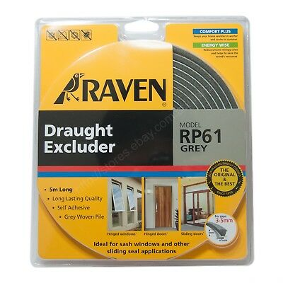 RAVEN 5M Draught Excluder Pile Weather Strip Grey RP61 For 2.5-5mm Gap R61