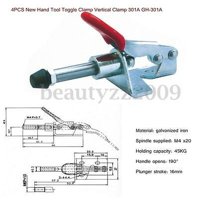 4PCS 99 lbs/45KG Toggle Clamp GH-301A 301-A Horizontal Hold Quick Hand Tool