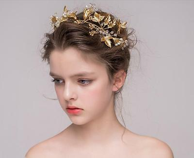 Vintage Wedding Bridal Gold Queen Hair Jewelry Accessories Headband Tiara Crown