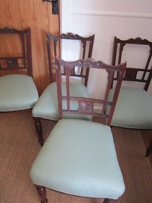 FOUR Antique Restored Mahogany Edwardian Dining Chairs