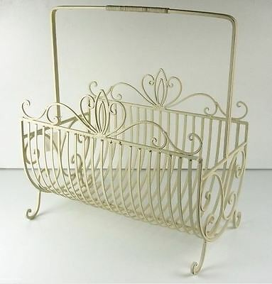 French Country Vintage Inspired Wrought Iron Magazine Holder New