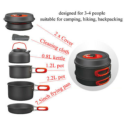3-4 Person Cooking Pot Camping Cookware Outdoor Pots Frying Pan Kettle Set KS