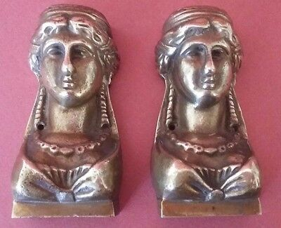 ANTIQUE FRENCH GILDED BRONZE PEDIMENTS - WOMAN BUST - BRONZE ORNEMENTAL XIXème