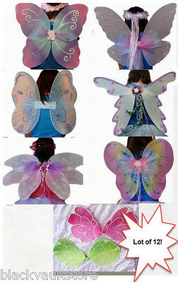 Lot of 12 Hand Crafted DressUp Costume Butterfly Fairy Wings GREAT FOR HALLOWEEN