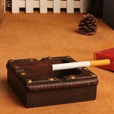 Vintage Wood Ashtray Cigarette Cigar Tobacco Wooden Case Handmade Craft Gifts A