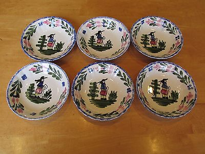 Lot of 6 Blue Ridge French Peasant Southern Potteries Dessert Sauce Fruit Bowls