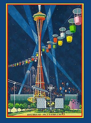 1962 Seattle Washington World's Fair United States Travel Advertisement Poster 4
