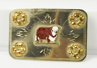 """Vintage Silver Tone Metal Unmarked Belt Buckle With a Cow Heifer Etching  3"""""""