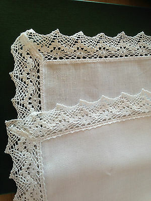"""White lace edged  linen table runner from McCaws in Norther Ireland - 14"""" x 52"""""""