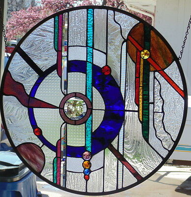 "Stained Glass Window Round Abstractr Hanging 24  1/2""  Round"