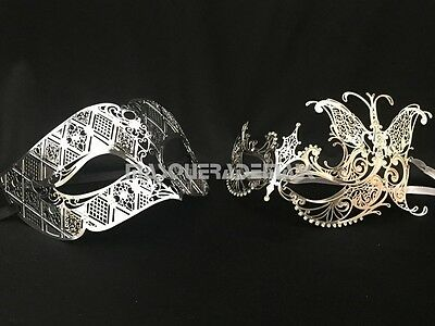 Silver Masquerade mask pair Costume Dance Birthday Bridal Wedding Prom Party