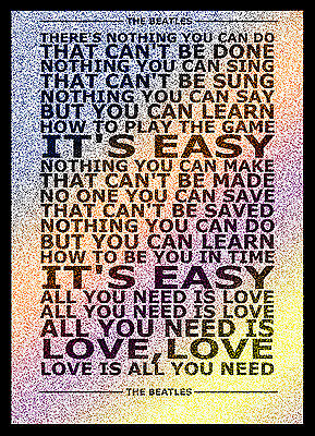A3 Size - The Beatles All You Need Is Love Typography Lyric ART PRINT POSTER