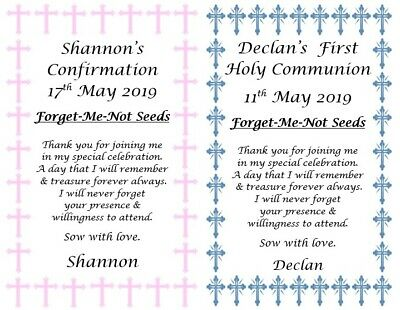 Communion/Confirmation Personalised Favours Thank You Gifts Seed Packets Seeds