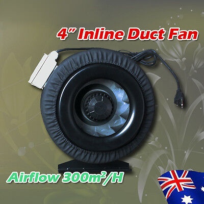 """Hydroponics 4"""" EXHAUST Inline Centrifugal Exhaust Metal Blade Duct Fan Blower"""