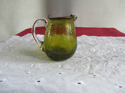 VTG Crackle Glass Pitcher Greenish Amber Hand Blown Pilgrim Style REDUCED!