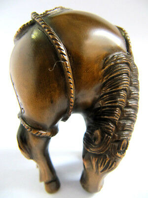 "Y2347--- 2"" Hand Carved Boxwood Netsuke Figurine Carving- Handsome Horse"