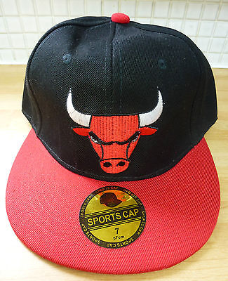 Chicago Bulls Sports Cap NBA Basketball Hat Snapback Style 57cm 7 Black Red NEW