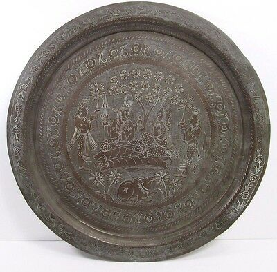 "Antique Copper Hand Made Engraved India Hindu Large 16"" Serving Tray"
