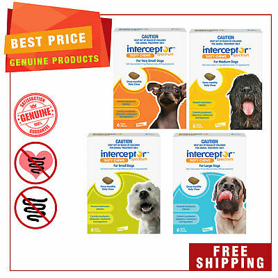 Interceptor Spectrum all sizes for Dogs by Novartis 6 chews Heartworm treatment