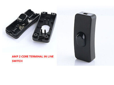 2 Core Terminal 2 Amp In Line Rocker Torpedo Switch Table Lamp Black Free Ship