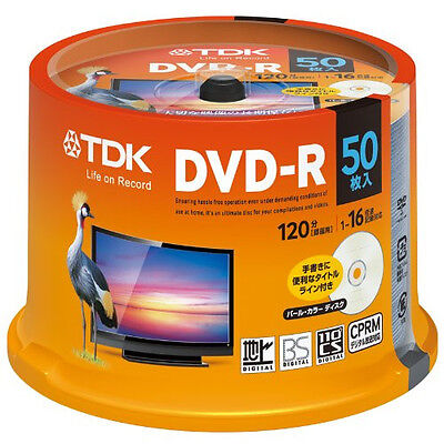 50 TDK Blank DVDR 120min 4.7GB 16x DVD-R CPRM Pearl Color disc from JAPAN