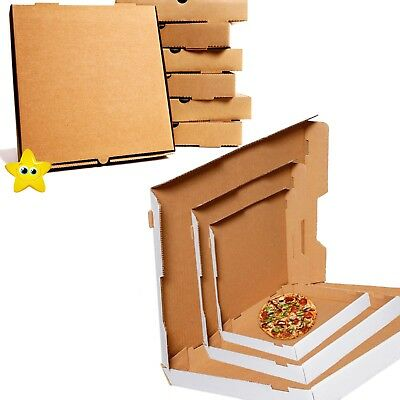 "Pizza Boxes Plain Brown & White Postal Box Takeaway Style Box 7"",9"",12"",15"",16"""