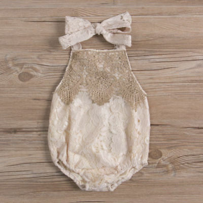 Boutique Girls Lace Romper Bloomers Playsuit-Gold Cream-Vintage Lace-Sunsuit