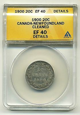 Canada-Newfoundland 20 Cents 1900,.925 Silver,ANACS EF 40 Details