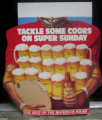 1984 Coors Beer Super Bowl Sunday Cardboard Store Display Sign 1967-1983 Scores