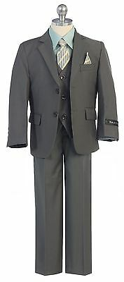 Boy Toddler Kid Teen 5PC Wedding Formal Party Moss Olive Suit Tuxedo Vest 2-20