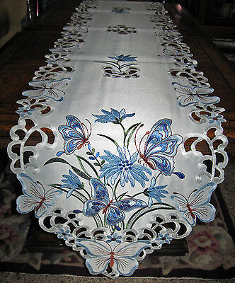 "Lacy Blue Butterfly Garden Embroidered Table Runner Dresser Scarf Decor 68""x 13"""