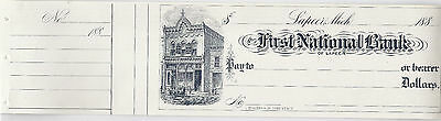1880s US Unused Bank Check - First National Bank, Lapeer Michigan*