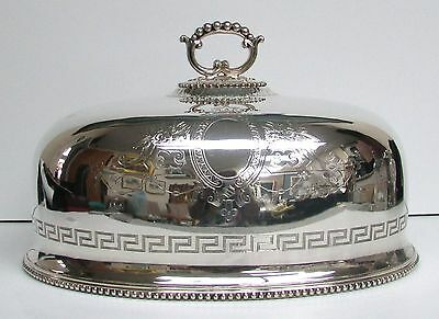 """Superb Victorian English Plate Meat Platter Dome 12"""" Cover - Greek Key & Beaded"""