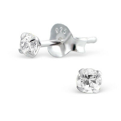 Sterling Silver Simulated Diamond Studs Earrings Girls Womens 925 3mm Round Stud