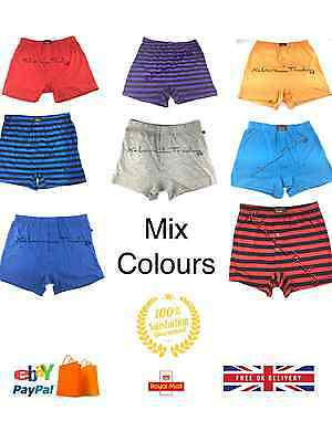 boxer shorts mens plain & striped mixed colours S M L XL 2XL 3 6 12 pairs free