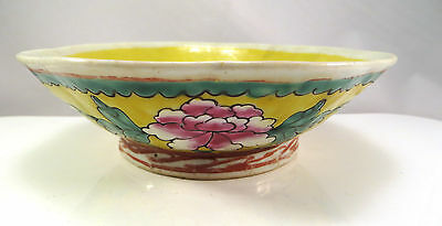 Antique Chinese Ceramic Bowl Narcissus Planter Pot Yellow Flowers Qing China B