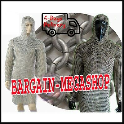 Butted Chainmail Shirt Large Full Sleeve Chain Mail Armor Haubergeon