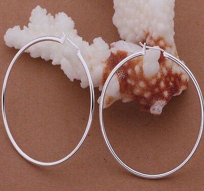 925 Sterling Silver Large Round Hoop Drop Dangle Earrings Womens Jewelry