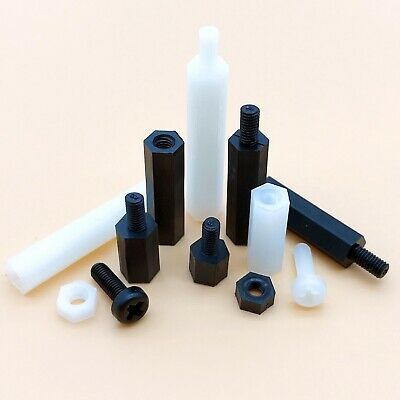25pc Plastic Nylon M2 M3 M4 Hex Standoff Spacer Pillar Phillips Round Head Screw