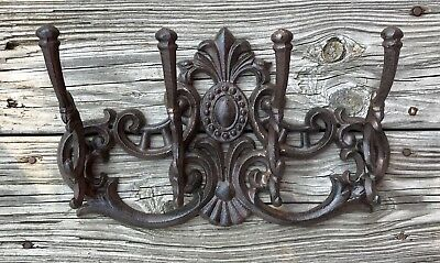 Cast Iron Large Victorian 4-Hook Wall-Mount Vintage Coat Rack Holder