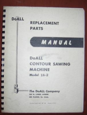 DoAll 16-2 Vertical Contouring Saw Parts Manual