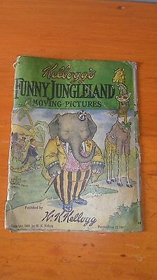 Rare Kelloggs 1909 Funny Jungleland Moving Pictures Book Toasted Corn Flakes Ad