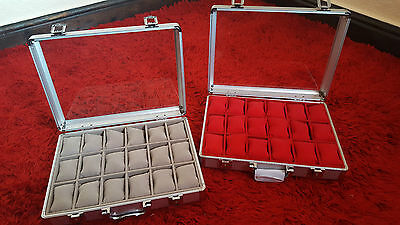 Stunning Aluminium Watch Display Case/Boxes - Holds 12 or 18 Watches Choose Size